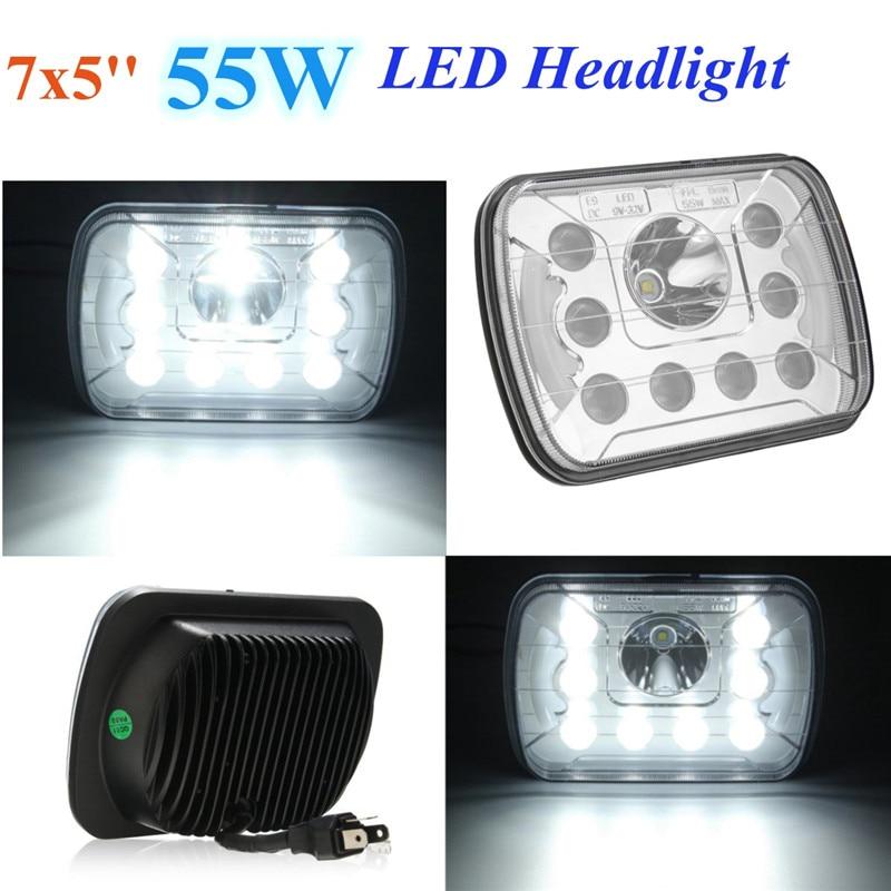 7x5 Inch 55W LED Headlight Hi/Lo Sealed Beam w/DRL Headlamp For Jeep/Wrangler hireno headlamp for mercedes benz w163 ml320 ml280 ml350 ml430 headlight assembly led drl angel lens double beam hid xenon 2pcs