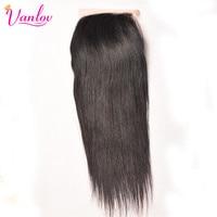 Vanlov Hair Products 4x4 Swiss Lace Closure Brazilian Straight Remy Hair Free Part 100 Human Hair