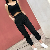 High Waist Ankle Length Safari Style Hip Hop Womens Cargo Pants Fashion Casual High Waist Trousers Solid Joggers Sweatpants
