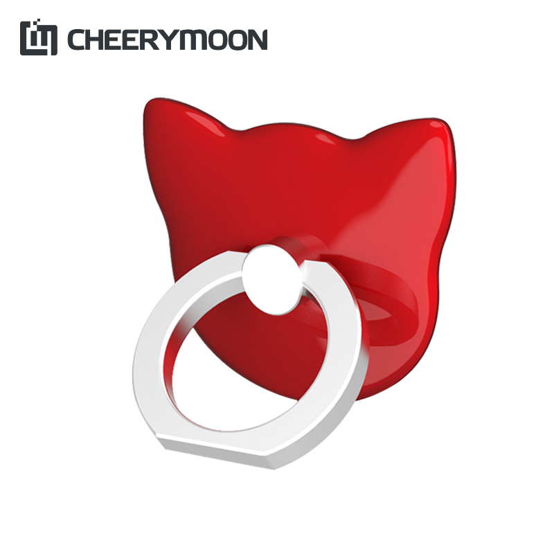 CHEERYMOON Cat Head 360 Degree Finger Ring Mobile Phone Smartphone Stand Holder For iPhone All Smart Phone Couple Models