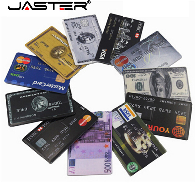 JASTER Waterproof Super Slim Credit Card USB Flash Drive 32GB Pendrive 4GB 8GB 16GB 32GB Bank Card Model Memory Stick U Disk