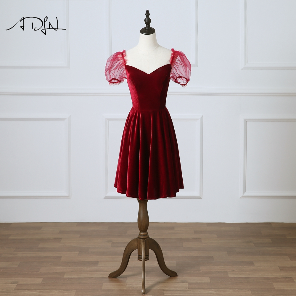 ADLN Sexy Velour   Cocktail     Dresses   Elegant Vintage Red Velvet Short Evening Gowns New Arrival Homecoming   Dress