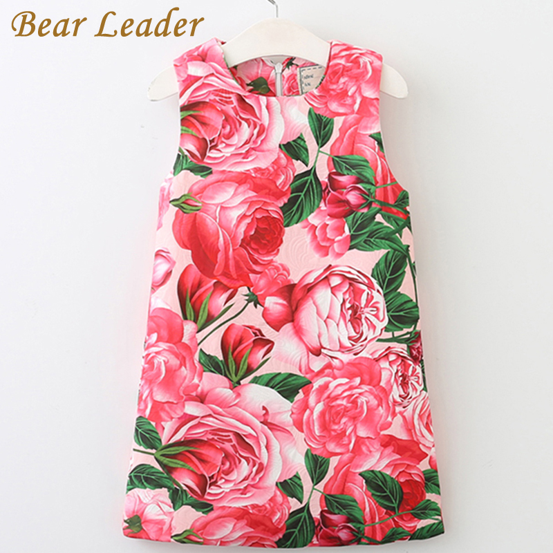 Bear Leader Girls Dress 2017 New Summer Style Printing Girls Clothes Sleeveless Rose Floral Design for Girls Princess Dress 3-8Y bear leader girls dress 2016 new summer style party dress stella the swallow embroidered sleeveless dress girls princess dress