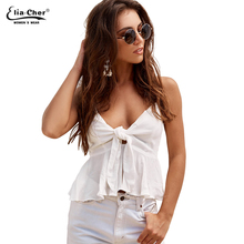 Summer Tank Tops Eliacher Brand 2017 Women Clothing Casual Chic Elegant White Cotton Camis Tops Vestidos 8555