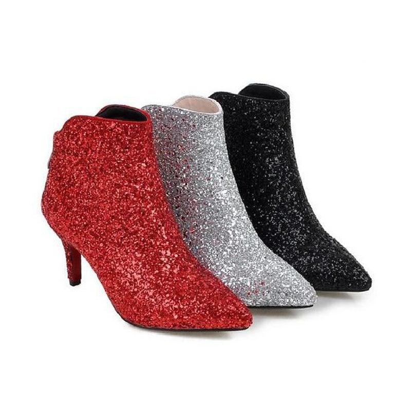 Nouveau Chelsea Glitter Bout Cm silver Pointu Bottes 2018 Femmes Mince Talons Sexy Automne Black Argent Haute Femme Chaussures Noir 7 Cheville Rouge Hiver red fnqYdCYw