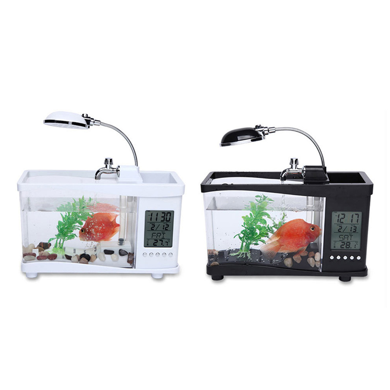 office desk fish tank. usb acrylic mini fish tank aquarium led lighting light with alarm clock for living room bedroom desk decoration accessories office