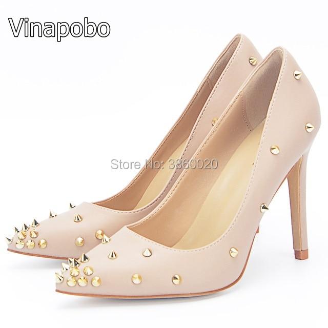 Vinapobo Spike Rivets High Heels 12mm 8cm 10cm Stiletto Women Pumps Pointed  Toe Dress Party Women Shoes Plus Size 40 Real Pic 7a0adb8dc6c3