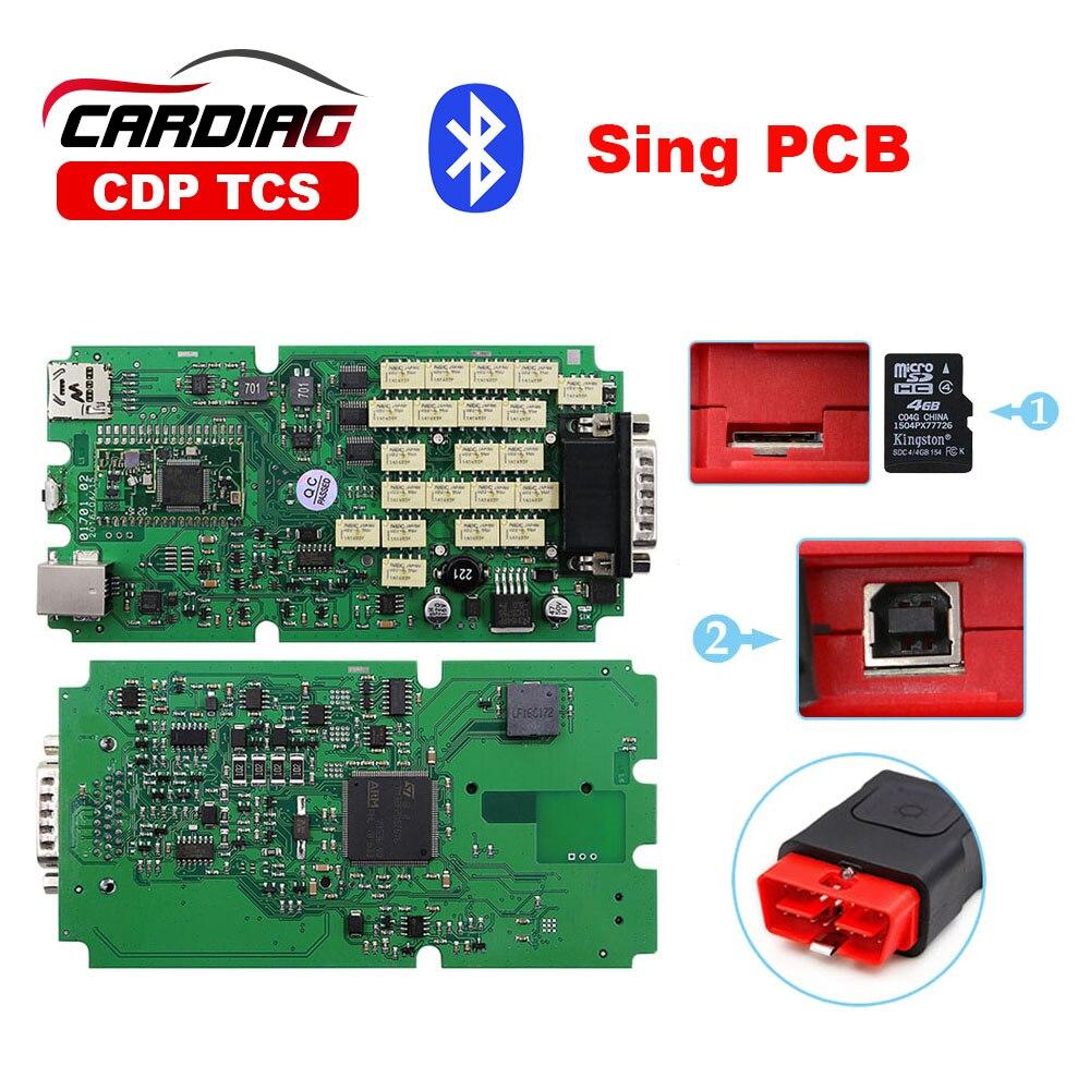 Цена за Один зеленый доска CDP TCS pro 5.008R2 с 4 ГБ SD карты TCS PRO С bluetooth с ЖИЛЬЕМ Диагностический сканер Бесплатно доставка