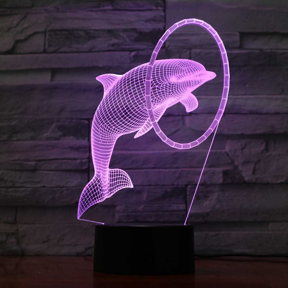 3D Usb Novelty Atmosphere Touch 7 Color Changing Dolphins Modeling Desk Lamp Led Night Lights Baby Sleep Lighting Fixture Gifts
