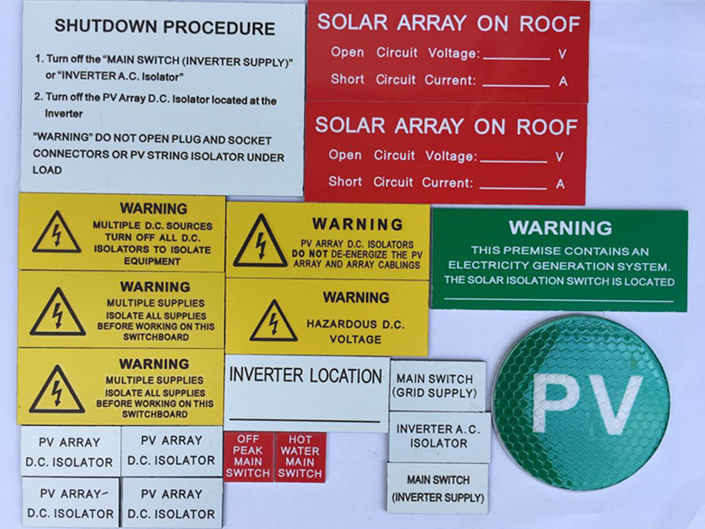 Latest Australian Solar Warning Labels Best 3M Adhesive, UV Stable Solar Labels, Engraved Rigid Solar Warning Labels