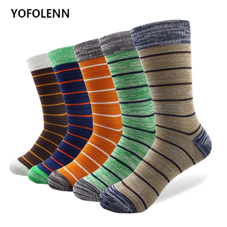 5 Pairs/lot Mens Slim Stripe Socks Plus Size Combed Cotton Happy Funny Long Colorful Casual Wedding Socks Wholesale
