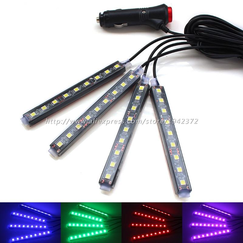 RGB Avtomobil İnteryer İşıqları 12V Mavi / Ağ / Çəhrayı / Qırmızı Rəngli 9 LED Bütün Döşəmə Çırağı Zolağı