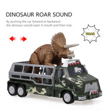Simulate Dinosaurs Transport Car Carrier Truck Toy Dilophosaurus Pull Back Dinosaur Cars Toys Gift for Kids(China)
