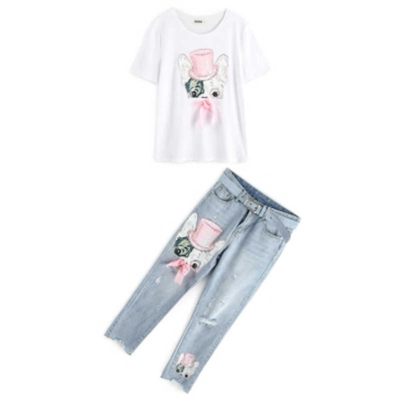 1fe2d8566836 ... Summer Casual Women Diamond Floral Print T Shirt Ripped Denim Cropped  Trousers Women Suit Two- ...