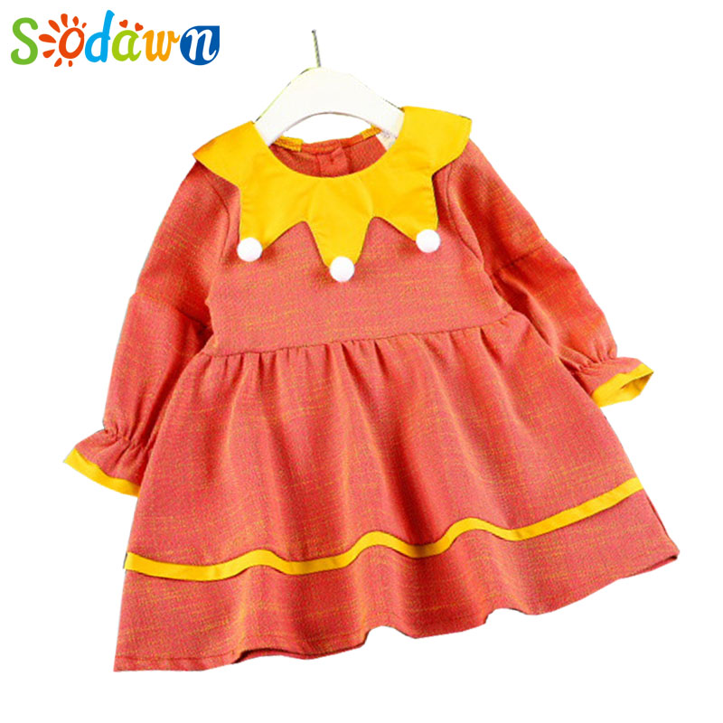 Sodawn 2017 Autumn New Children Clothing Girl Clothes Girl Dresses Dolls Long Sleeve Princess Dresses Girls Clothes