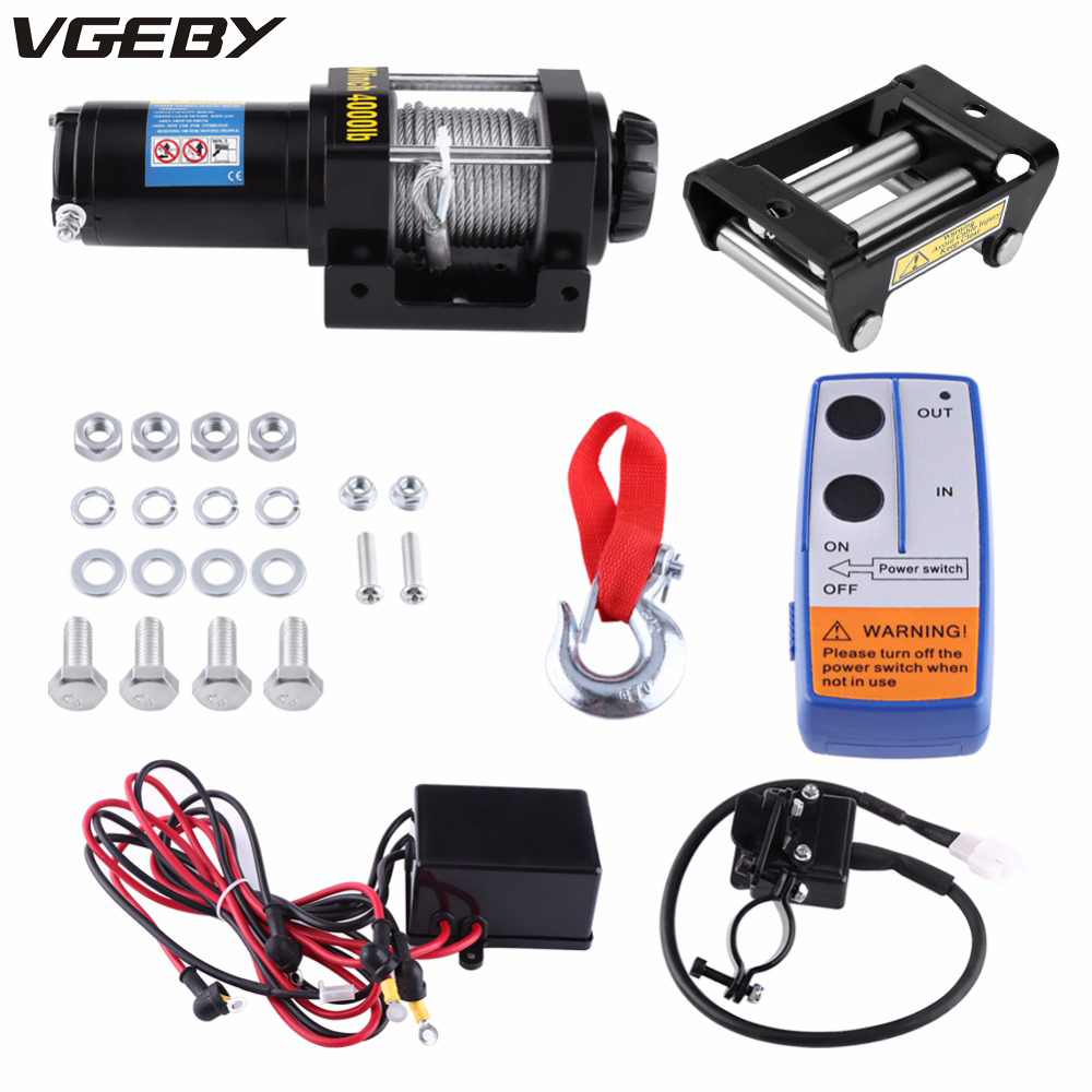 Oversea DE ES 4000lbs Electric Recovery Winch Kit ATV Trailer Truck 15m HIGH TENSILE STEEL cable Auto DC 12V Remote Control jinshengda remote control 24v universal wireless remote control kit handset for truck jeep atv suv winch warn ramsey