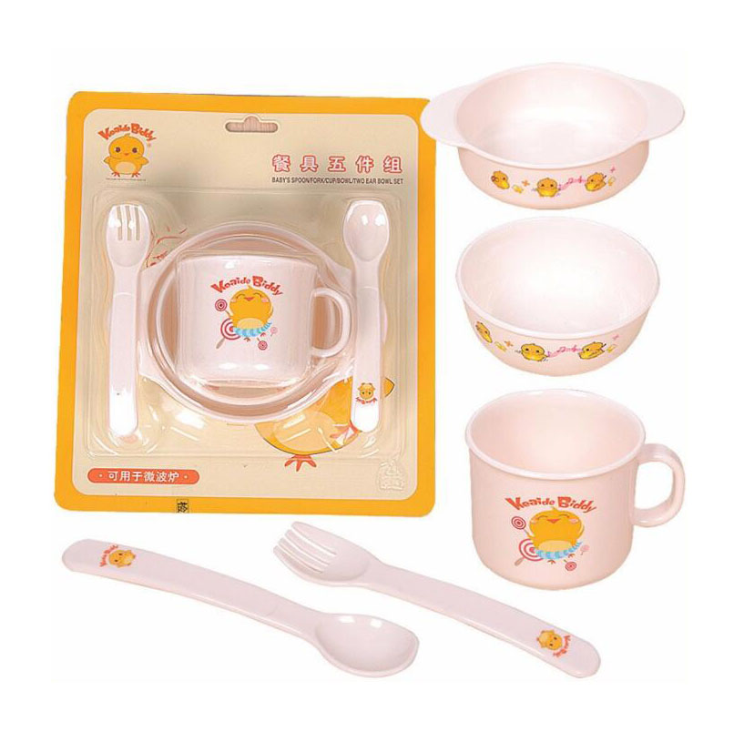 5Pcs/Set Feeding Baby Dishes Bowl Plate Forks Spoon Cup Set Baby Feeding Tableware Set Safe PP Apply To Microwave Oven Cooking