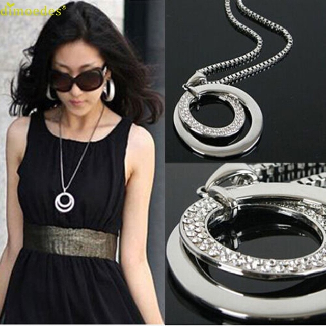 Diomedes Newest Necklace Women Long Chain Women Crystal Rhinestone Silver Plated Pendant Necklace Gift Accessories Sexy Chain