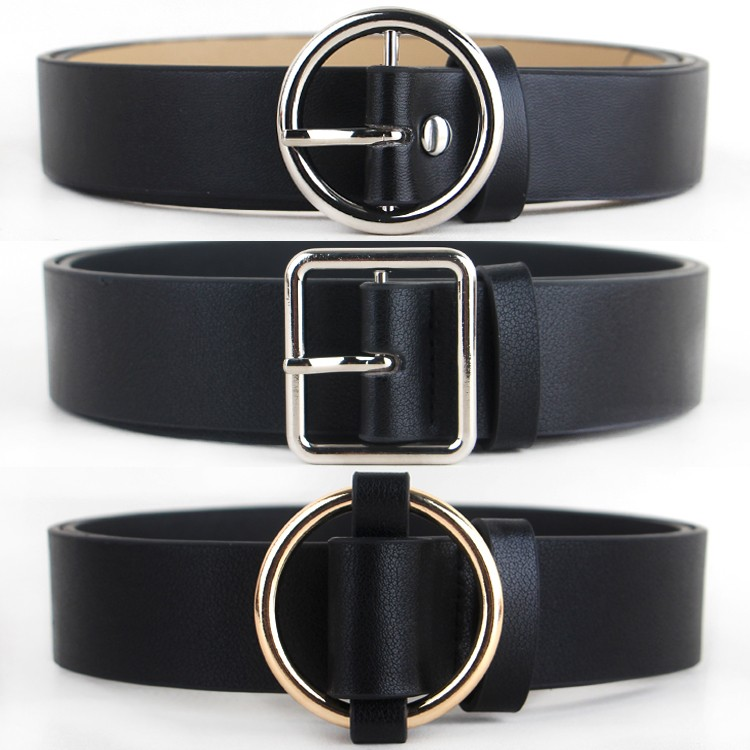 HOT Circle Pin Buckles Belt Female Deduction Side Gold Buckle Jeans Wild Belts For Women Fashion Students Simple Casual Trousers