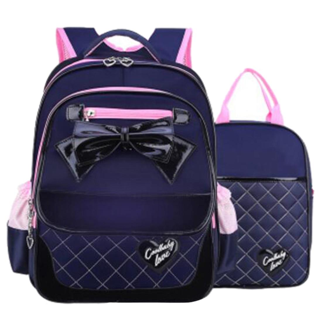 2 Pcs Set Han edition princess girls backpack Female bag wear resisting PU leather School bag