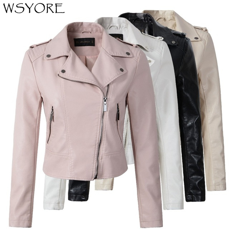 WSYORE 2019 New Spring Coat Motorcycle PU   Leather   Jacket Women Winter And Autumn Fashion Coat Zipper Outerwear jacket NS296