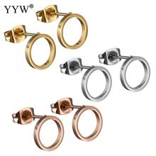 YYW Cute Stainless Steel Stud Earrings Donut Small For Women Girls Silver Gold Rhinestone Fashion Jewelry