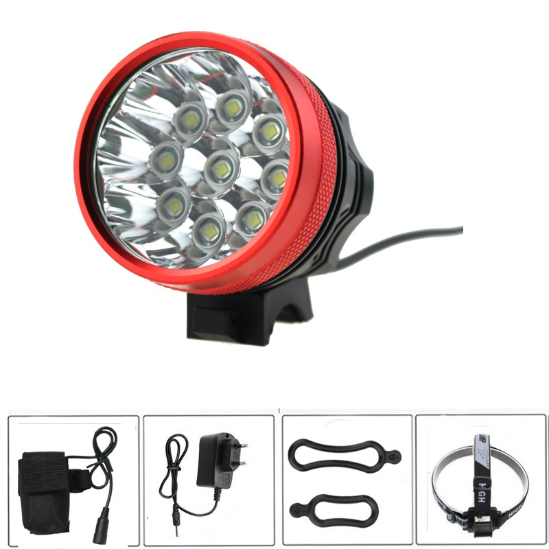 15000 Lumen 9T6 Bike Light Headlamp 3 Modes with 6400mah 18650 Battery Pack and Charger 9*Cree XM-L T6 Front Bicycle Flash Light 6 cree xm l t6 3 modes 8000lm headlight headlamp bicycle light bike light super power 6t6 for bike with battery pack charger