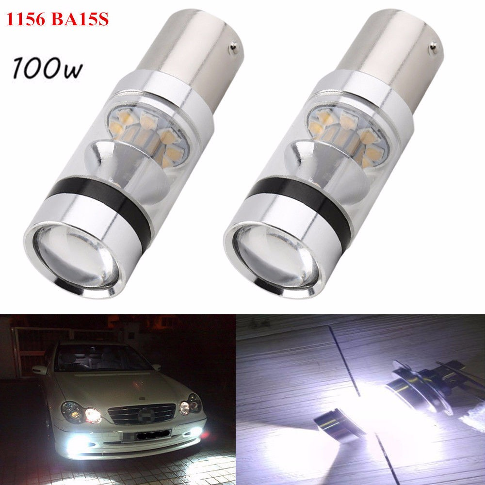 2x1156 Canbus Cree 20 Chips 100W LED Bulb Backup Reverse Light BA15s 382 S25 Car LED Turn Signal Rear Light For BMW X3 X5 E70 error free 1156 socket 360 degrees projector lens led backup reverse light r5 chips replacement bulb for peugeot 307 2003 2012