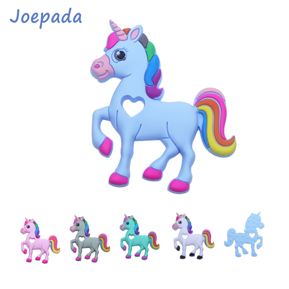 Joepada 1Pc Unicorn Baby Teether Nursing Chewing Horse Toy Food Grade Silicone Beads For DIY Baby Teething Necklace BPA Free
