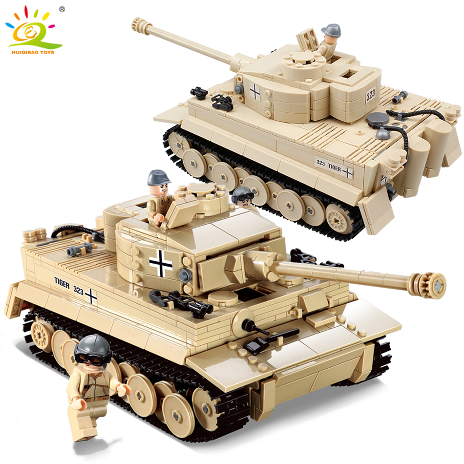 HUIQIBAO 995pcs Military German King Tiger Tank Building Blocks Compatible Legoed Army WW2 soldier weapon bricks children toys 995pcs 82011 century military german king tiger tank cannon building blocks bricks model sets toys for children gifts