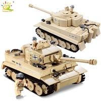 HUIQIBAO 995pcs Military German King Tiger Tank Building Blocks Compatible Legoed Army WW2 soldier weapon bricks children Toys