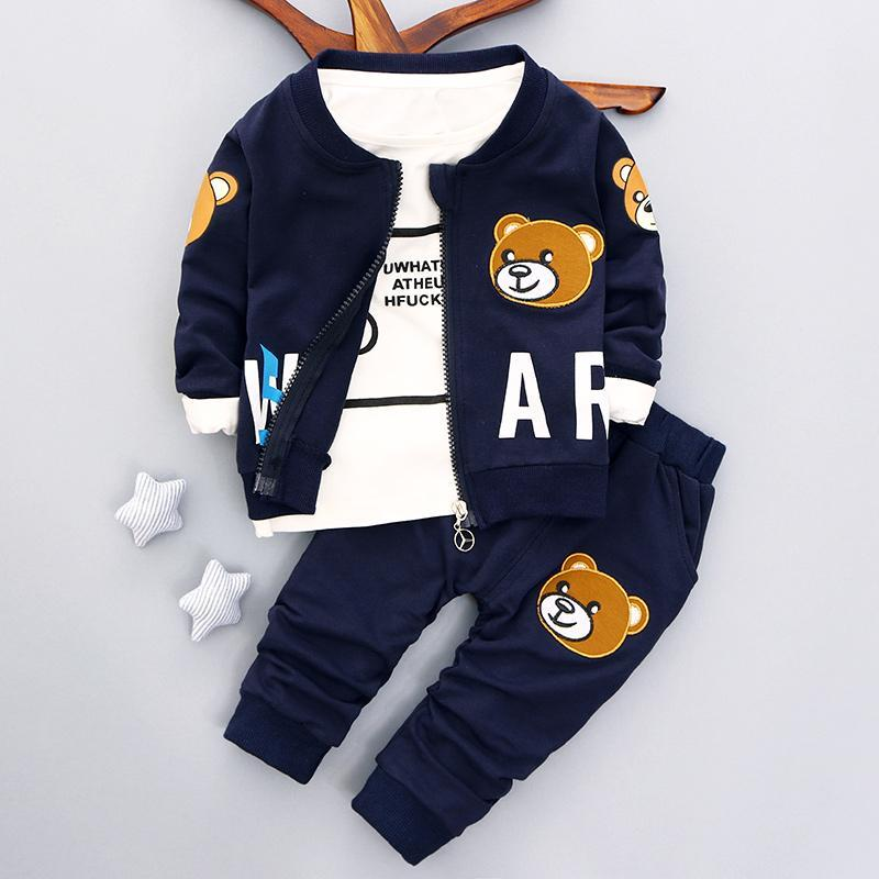 1 2 3 4 Years Baby Clothing Set Autumn Spring Casual 3pcs/set Boys Clothes Long Sleeve Shirts Coats Pants Kids Suits