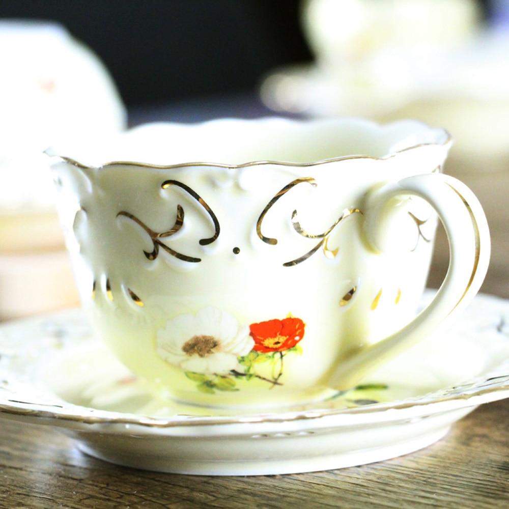 1Pcs New KEYAMA white Painted flowers ceramic coffee cups ...
