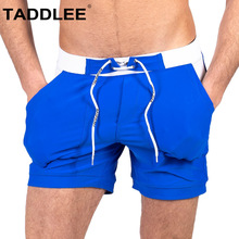 Taddlee Brand Sexy Mens Swimwear Swim Boxer Trunks Short Shorts Male Swimsuits Solid
