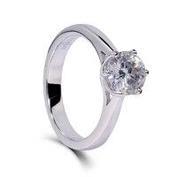 Pani Ślub Zaręczyny Kobiety Pierścień Szerokości 3mm Platinum galwanicznie 925 Srebro Moissanite 1ct Lab Grown Diament Biżuteria