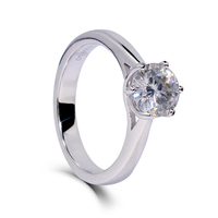 Slender Lady Wedding Engagement Women Ring Platinum Plated 925 Sterling Silver 1ct Moissanite Lab Grown Diamond