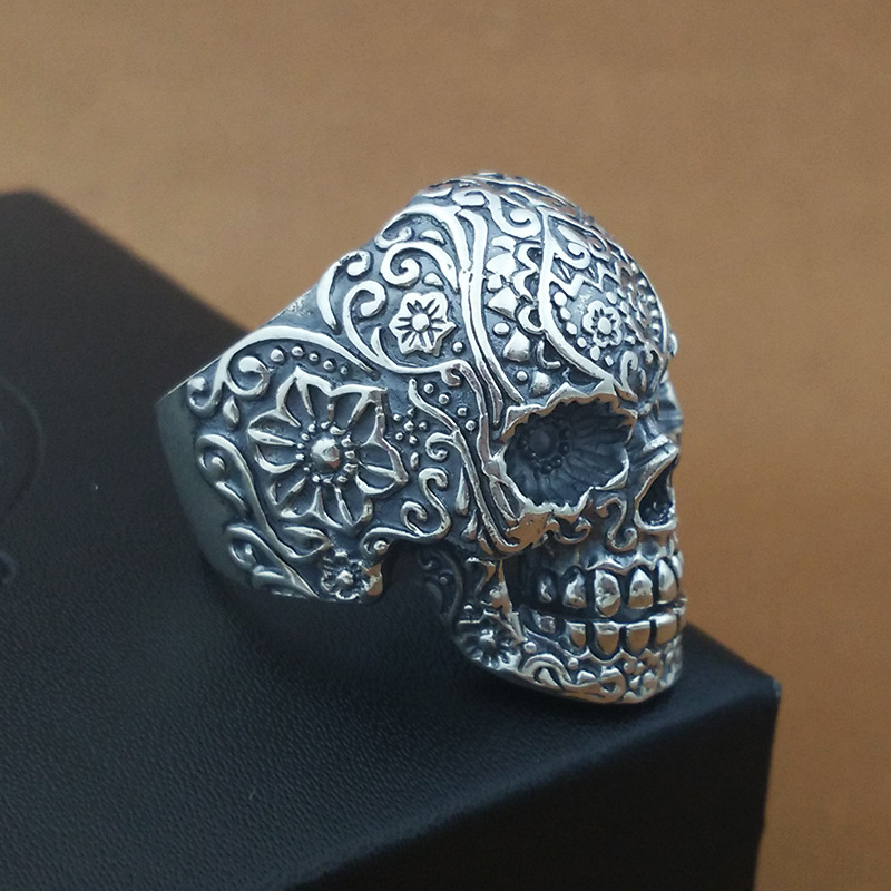Real solid 925 pure silver skull ring
