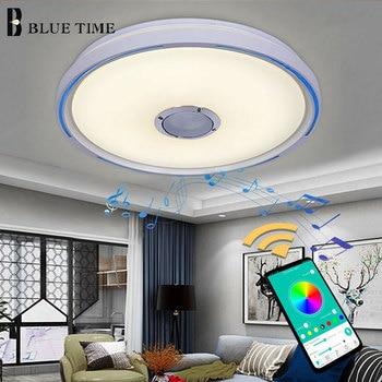 Blue Side Elegant LED Ceiling Lights For Living Room Dining Room Bedroom Music Playing LED Ceiling Lamp White Body Home Fixtures