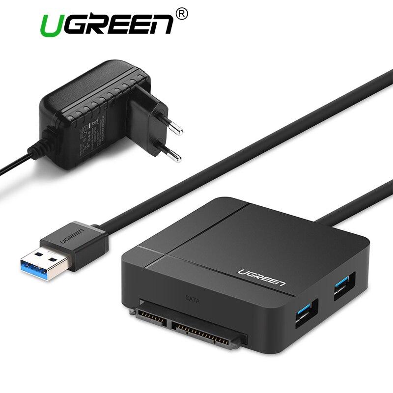 Ugreen USB 3.0 à Câble SATA avec Adaptateur secteur pour 2.5 3.5 DISQUE DUR SSD Disque Dur SD/TF lecteur de carte 3.0 HUB USB Adaptateur Sata