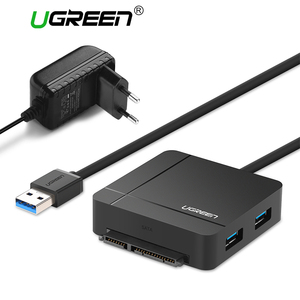 Ugreen USB 3.0 إلى SATA كابل مع محول الطاقة ل 2.5 3.5 HDD القرص الصلب SSD محرك SD/TF قارئ بطاقات 3.0 محور USB Sata محول