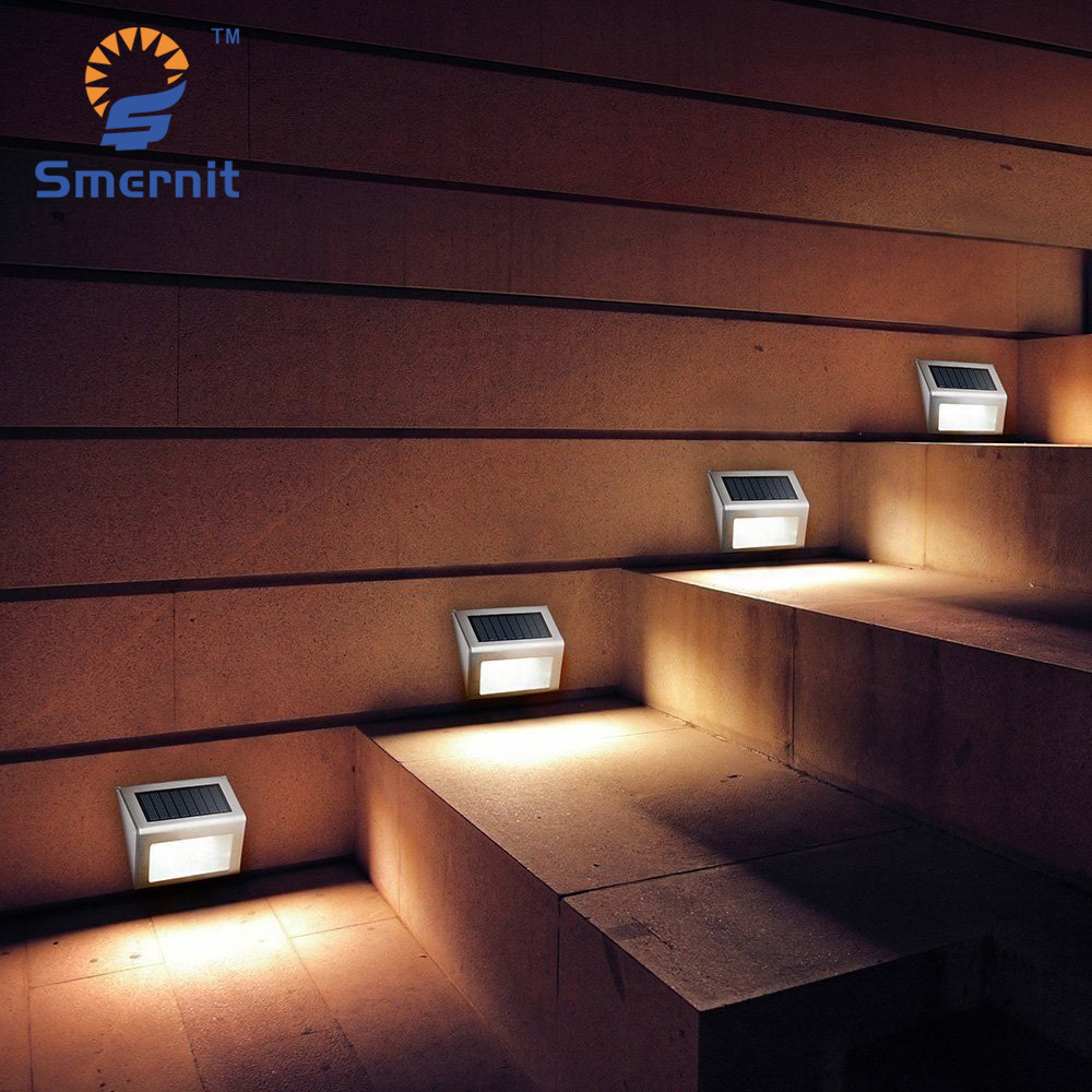 10 pieces LED Solar Powered Stair Lights Solar Step Lights Outdoor Lighting for Steps Paths Patio