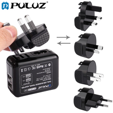 PULUZ Battery Charger Set For GoPro 2 Ports USB 5V (2.1A+2.1A) Wall Charger Set+Removable UK+EU+US+AU Plug Travel Power Adapters 3 7v 1500mah battery with battery charger eu plug power adapter set for htc desire z
