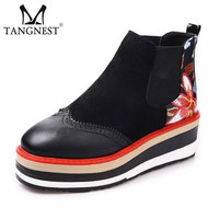 Tangnest NEW Autumn Floral Printed Boots For Women Patent Leather Ankle Boots Classic Brogues Shoes Platform