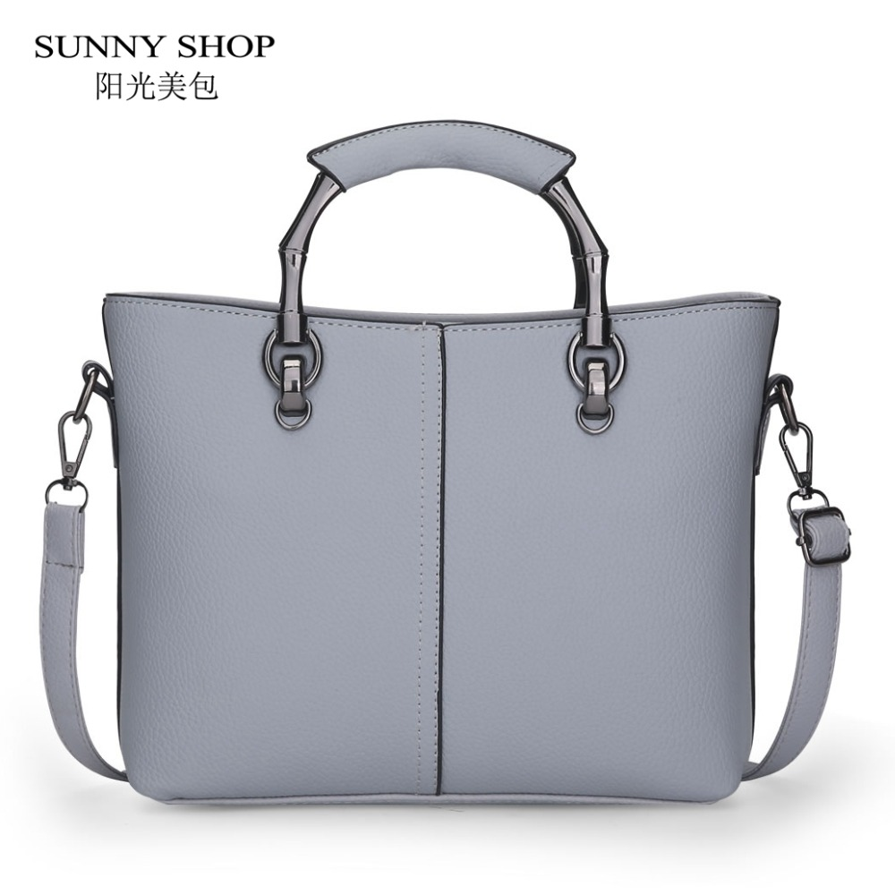 SUNNY SHOP Brand Designer Handbags With Metal Handle Women Bag Women PU Leather Handbags Fashion Handbags Shoulder Bags Casual