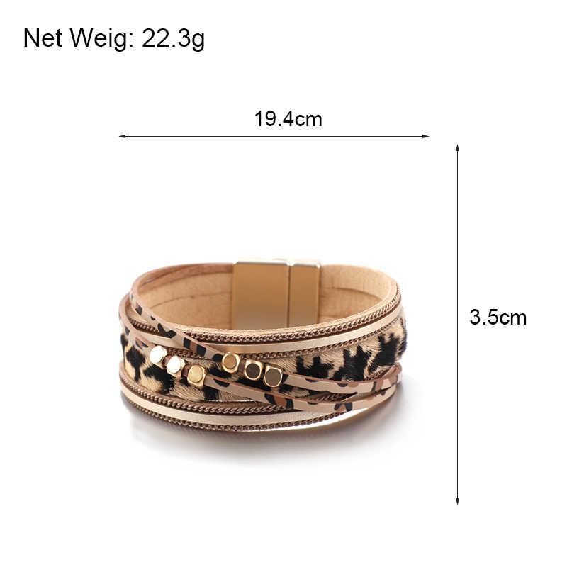 Amorcome leopardo pulseiras de couro para as mulheres 2019 moda metal grânulo boêmio ampla wrap pulseira senhoras festa jóias