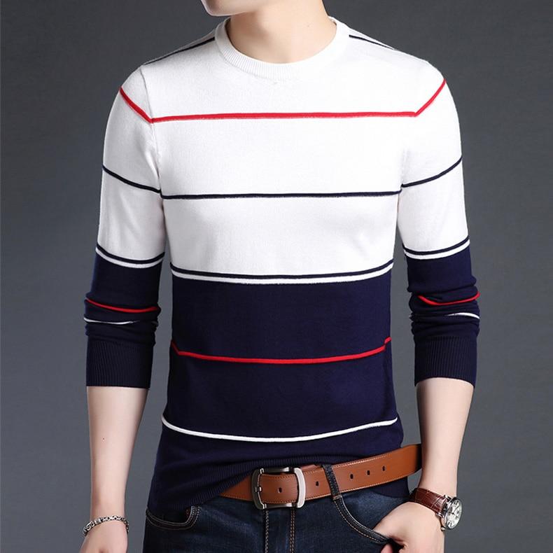 Casual Men winter O-Neck Striped pullover Sweaters 2