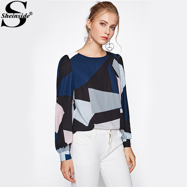 Sheinside Color Block Puff Sleeve High Low Women Blouse 2017 Fall Elegant Geometric Print Autumn Top Ladies Casual Blouse