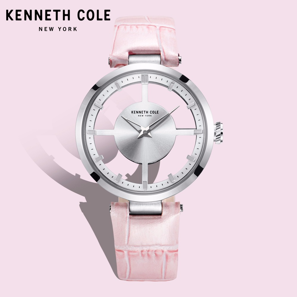 Kenneth Cole Womens Watches Quartz Leather Buckle Waterproof Pink Hollow See-through Luxury Brand Watches For Women KC15004013 цена и фото