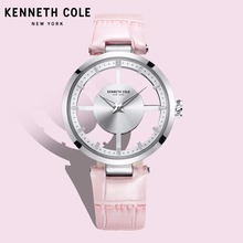 Kenneth Cole Womens Watches Quartz Leather Buckle Waterproof Pink Hollow See-through Luxury Brand Watches For Women KC15004013 цена