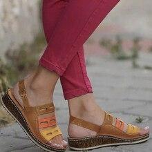 Женские туфли на танкетке из искусственной кожи; босоножки на высоком каблуке; повседневная Летняя обувь; женские Вьетнамки; Босоножки на платформе; коллекция года; большие размеры 35-43
